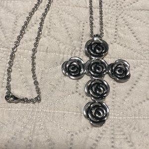 Cross rose necklace